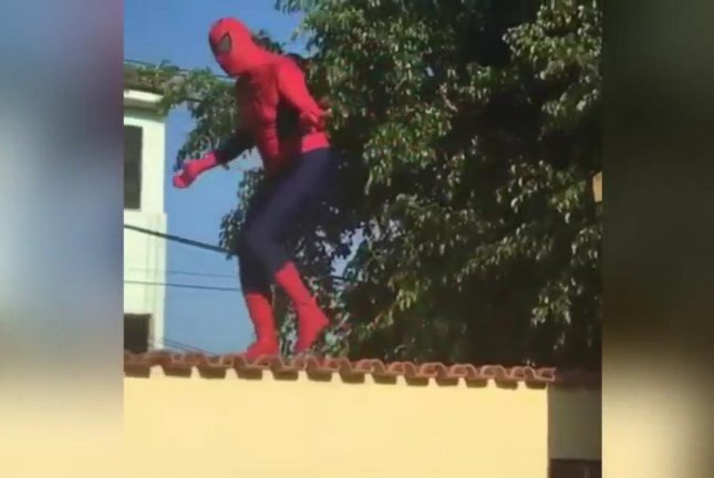 This Spider-Man in Israel is about to learn that superheroes and overconfidence don't mix. Screenshot courtesy Newsflare