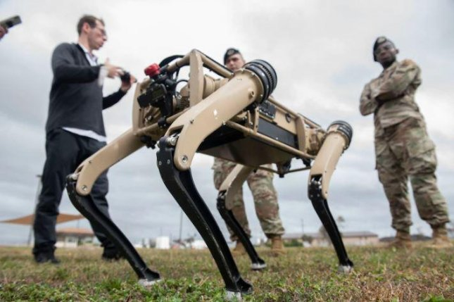 Tyndall Air Force Base, Fla., this week tested robotic dogs for security patrol operations. Photo by A1C Tiffany Price/U.S. Air Force