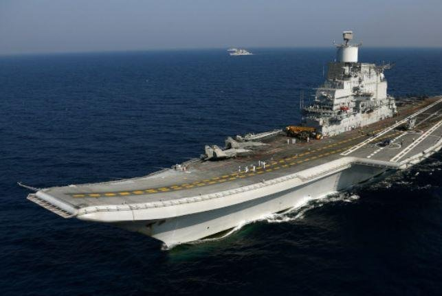 The strike group led by the aircraft carrier Vikramaditya joined the USS Nimitz Strike Group for the four-nation Malabar 2020 naval exercise, which concluded Friday. Photo courtesy of the Indian Navy