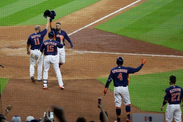 The Houston Astros beat the Kansas City Royals on a bases-loaded walk in the 12th inning on Sunday, April 9, 2017. Photo courtesy Houston Astros via Twitter