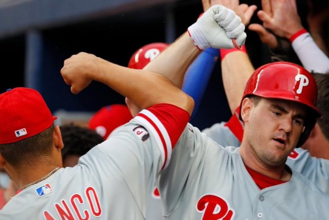 The Phillies did a lot of celebrating as they jumped on the Braves and Bartolo Colon in an 11-4 victory. Photo courtesy Philadelphia Phillies/Twitter
