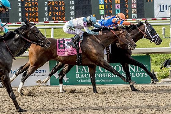 Noble Indy (No. 2) wins the Louisiana Derby, moving to the top of the Kentucky Derby leaderboard. Photo courtesy of Fair Grounds