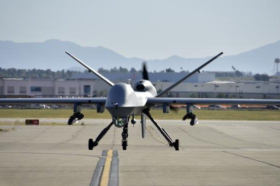 A MQ-9 Reaper drone is pictured on the runway. Photo by Airman Michelle Ulber/163rd Attack Wing/U.S. Air Force
