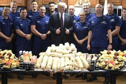 President Donald Trump visited Coast Guard members in Lake Worth Inlet, Fla., for Thanksgiving Day. Photo courtesy U.S. Coast Guard Seventh District Southeast