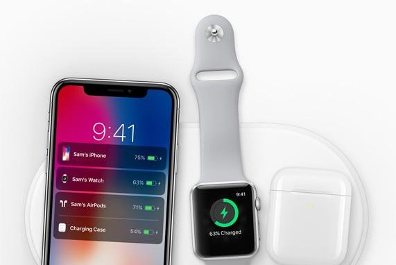 On its newsroom website, Apple touts the new Apple-designed AirPower mat, coming in 2018, can charge iPhone, Apple Watch and AirPods simultaneously. Photo courtesy Apple