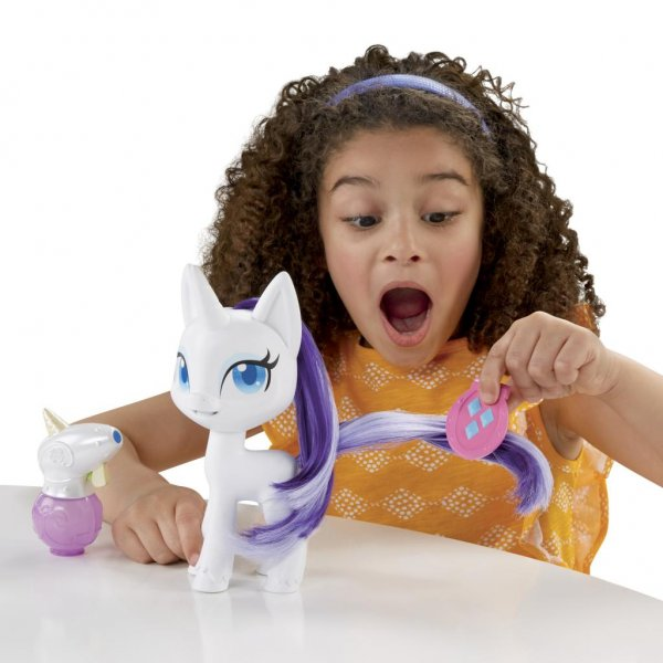 Rarity's mane and tale grow and change colors in Hasbro's Magical Mane Rarity on sale now. Courtesy of Hasbro