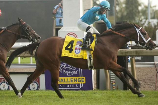 Starship Jubilee wins Saturday's $1 million Woodbine Mile, a Breeders' Cup Win and You're In. Photo by Michael Burns, courtesy of Woodbine