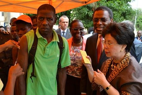 Dr. Margaret Chan, director-general of the World Health Organization, visited Angola on April 4 for a two-day visit to assess the yellow fever outbreak there. Photo by Jose Caetano/WHO