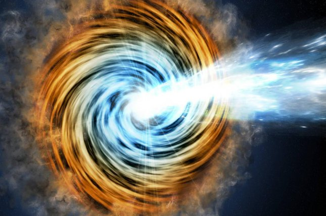 An illustration of the blast of gamma ray jets emitted by the accretion disk of a supermassive black hole. Photo by M. Weiss/CfA