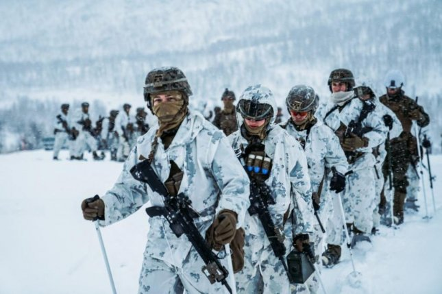 U.S. Marines participate in Exercise Reindeer II, a cold-weather drill in Norway with the Norwegian Army. Photo by Cpl. William Chockey/U.S. Marine Corps