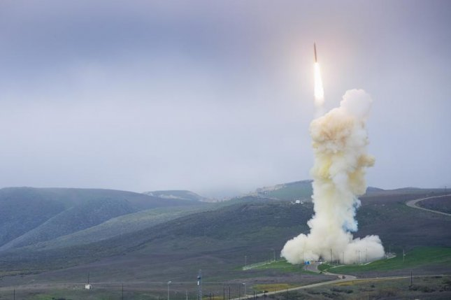 A three-stage Ground-Based Interceptor rocket is launched from Vandenberg Air Force Base, Calif., during a test flight in 2013. Photo courtesy of Missile Defense Agency