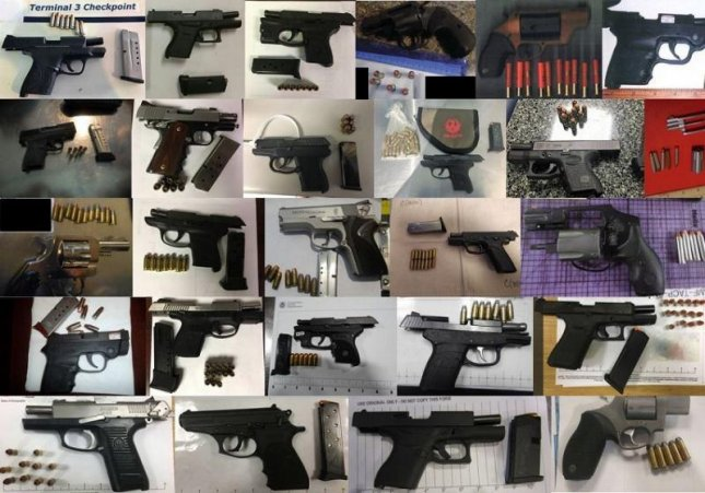 The TSA discovered a record 104 firearms in carry-on bags at U.S. airports between Feb. 5 and Feb. 11. Photo courtesy TSA