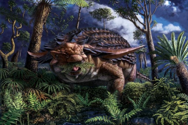 While it's rare to find the fossilized stomach of a dinosaur, the stomach of one Borealopelta markmitchelli dinosaur revealed that its last meal was ferns. Illustration by Julius Csotonyi