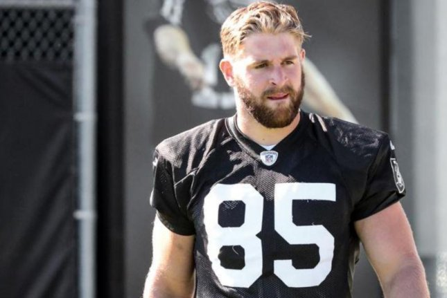 The New York Giants promoted practice squad tight end Ryan O'Malley to the active roster on Saturday. Photo courtesy of the Oakland Raiders/Twitter.
