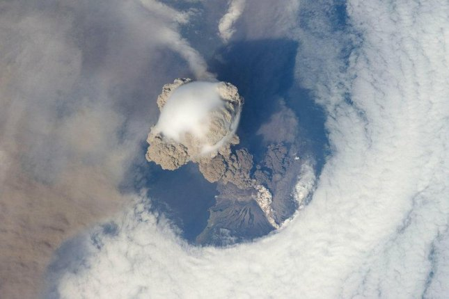 Astronauts on the space station photographed the eruption of Russia's Sarychev Peak in 2009. Photo by NASA