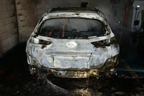 A Hyundai Kona Electric car is burnt at a parking lot in Daegu, South Korea, on October 4. Photo courtesy of Daegu Fire Department
