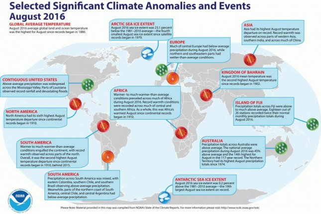 A new map from NOAA recounts the many record-breaking climatic events that occurred during August 2016. Photo by NOAA/NCEI