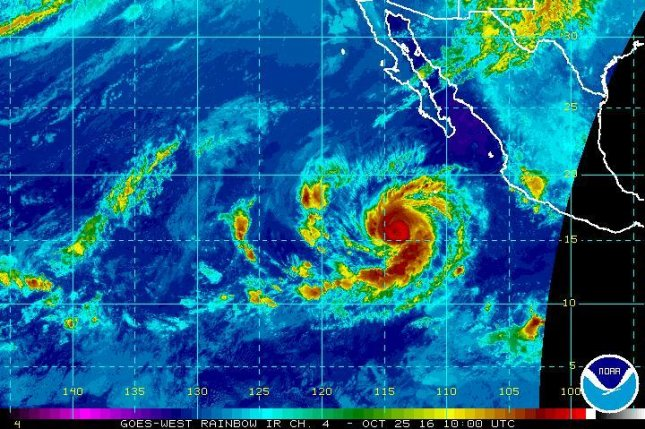 Hurricane Seymour, seen here near the center of this satellite image, strengthened into a Category 3 hurricane on Tuesday, the National Hurricane Center said. Image courtesy of NOAA