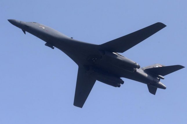 North Korea's KCNA said the U.S. B-1B strategic bomber flew in South Korea airspace five times in March. File Photo courtesy of Yonhap/EPA