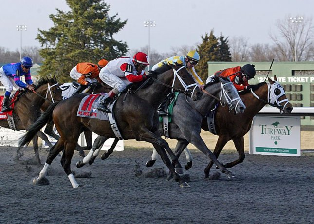 We Miss Artie (No. 11) flashes to a narrow win Saturday in the Spiral Stakes at Turfway Park, heads for the Kentucky Derby. (Turfway Park photo)