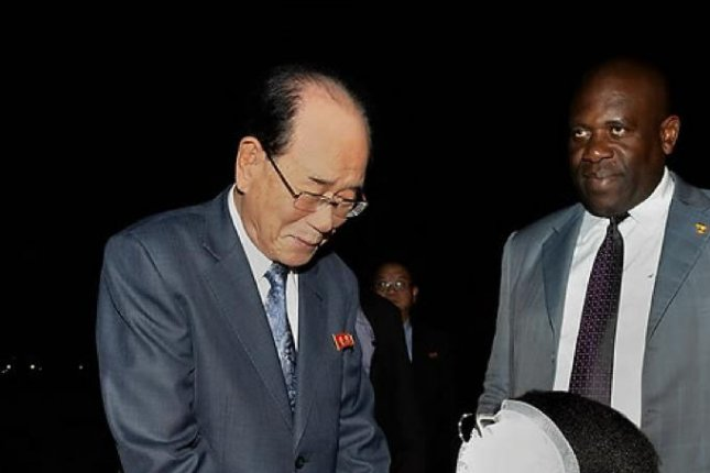 Kim Yong Nam, chairman of the Presidium of the Supreme People's Assembly of North Korea, during a visit to Uganda last October. Kim blamed U.S. policy for instability on the Korean peninsula. Photo by KCNA/Yonhap