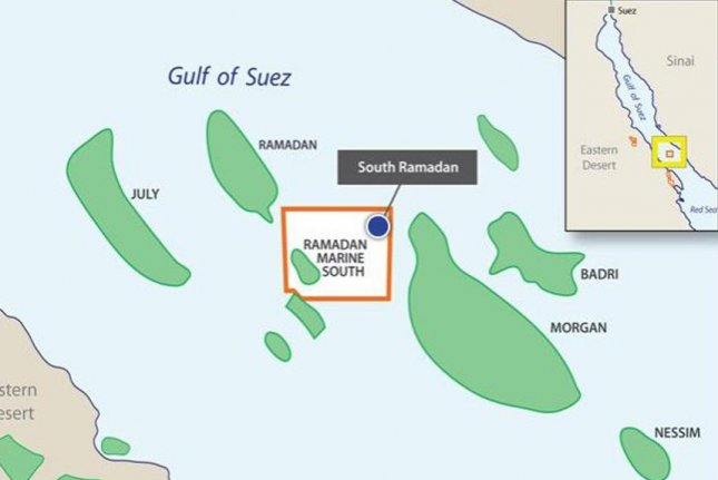 Drilling of an appraisal well near oil reservoirs in the Egyptian waters of the Gulf of Suez. Map courtesy of SDX Energy