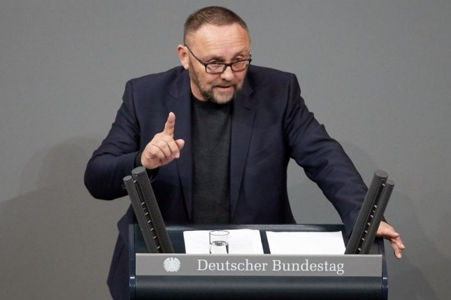 Frank Magnitz of the Alternative for Germany party speaks during a session of the German Bundestag in Berlin last February. File Photo by Hayoung Jeon/EPA-EFE