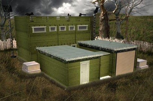 A rendering of the Zombie Fortification Cabin, or ZFC-1. (Tiger Log Cabins)