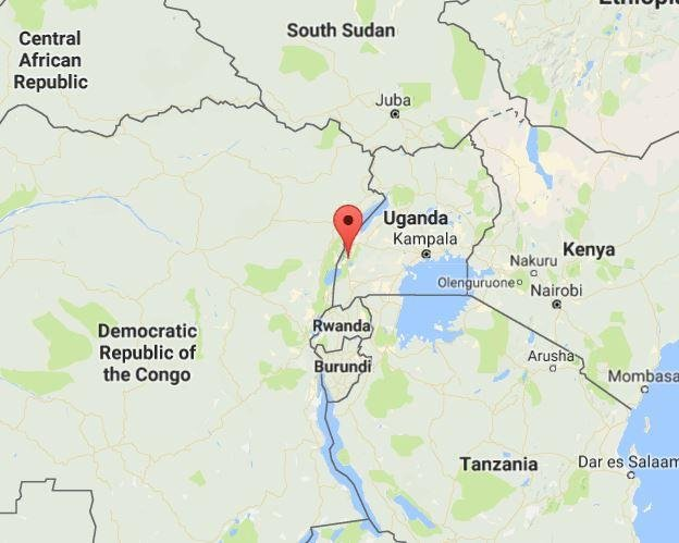 Battles between security forces and local militias killed 55 people in Kasese, Uganda, Saturday and Sunday, and tribal king Charles Wesley Mumbere was arrested. Image courtesy of Google Maps.