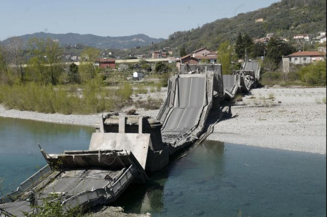 The collapsed bridge is seen Wednesday in Massa-Carrara province, Tuscany, Italy. Photo by Riccardo Dalle Luche/EPA-EFE