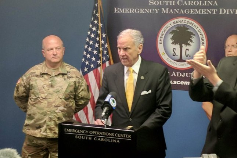 South Carolina Gov. Henry McMaster (C) discussion Hurricane Irma preparation plans for the state. Photo courtesy the South Carolina National Guard