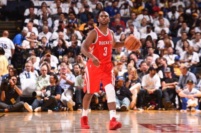 Houston Rockets point guard Chris Paul will miss two to four weeks due to a bruised left knee, according to multiple reports on Friday. Photo courtesy of Houston Rockets/Twitter