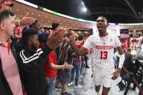 The Houston Cougars will have the support of the NBA's Houston Rockets when they take the floor Friday night against the Kentucky Wildcats in the Sweet 16 in Kansas. Photo by Twitter/Houston Cougars