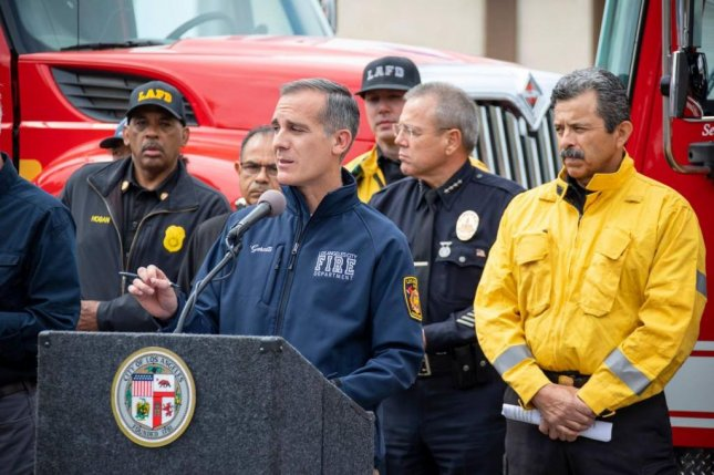 Los Angeles Mayor Eric Garcetti told reporters during a press conference Monday that he expects firefighters to be battling the Palisades blaze for at least two more days. Photo courtesy of Mayor Eric Garcetti/Facebook