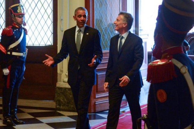 Argentinian President Mauricio Macri and U.S. President Barack Obama met on Wednesday in Buenos Aires' Casa Rosada presidential palace to discuss the relations between both countries, aimed at improving trade. Photo courtesy of Mauricio Macri