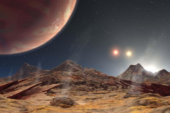 An artistic rendering reveals a hypothetical sunset on HD 1885 Ab, a rocky world in a triple star system. The view from KELT-4Ab, a gas giant, would likely look similar. Photo by NASA/JPL-Caltech