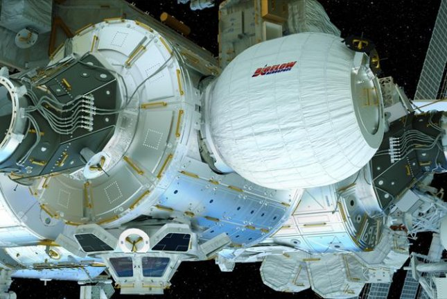 Among supplies aboard a SpaceX delivery to the International Space Station is the inflatable Beam living space, above. Beam, made of kevlar, is being tested as a prototype for at least two much larger versions Bigelow Aerospace hopes to rent out portions of to companies for research in the next few years. Photo courtesy Bigelow Aerospace