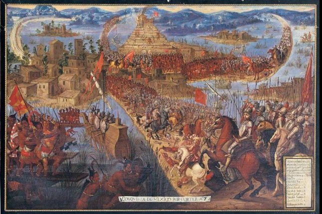 A painting depicts the conquest of the Aztecs by the Spanish. Photo by Wikimedia/CC