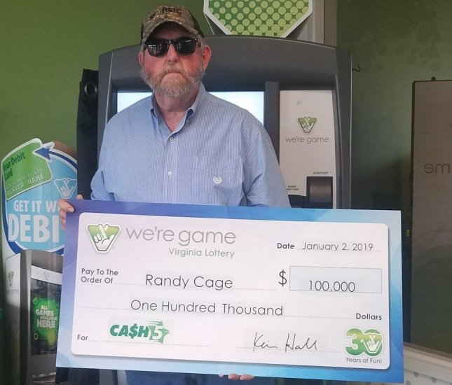 A Virginia man won $100,000 from a lottery drawing and $1,000 from a scratch-off ticket on the same day. Photo courtesy of the Virginia Lottery