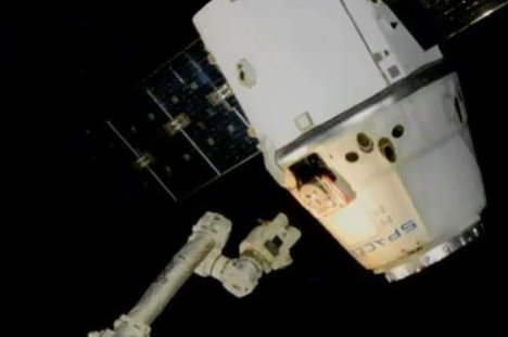 A SpaceX Dragon cargo capsule is released from the International Space Station on Tuesday morning. Photo courtesy of NASA