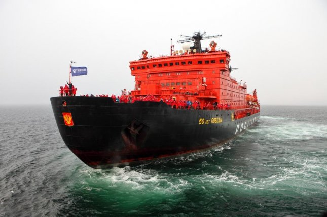 The Russian icebreaker 50 Years of Victory, shown here in 2015. Russia floated out the Ilya Muromets, its first new icebreaker in decades, during a ceremony Friday, part of an effort by Russia to increase its operations in the Arctic. Vladimir Melnik / Shutterstock.com