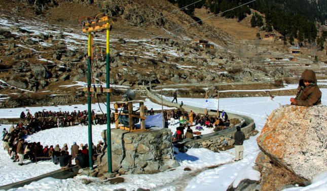 Residents of Serai village in Swat Valley of Khyber Pakhtoonkhwa province in Pakistan gathered Jan. 28 at their first-ever micro-hydropower station installed by the European Union. UPI Next/Fazal Khaliq