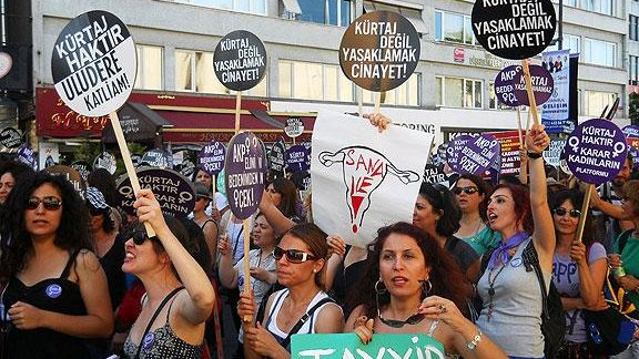 Protesters in Istanbul carry signs reading Abortion is not murder, making it illegal is! and, on the uterus drawing, What's it to you! (WEN/Jennifer Hattam)