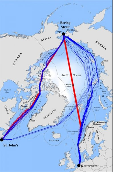 The fastest navigation routes for ships seeking to cross the Arctic Ocean by mid-century will include the Northwest Passage (on the left) and over the North Pole (center), in addition to the Northern Sea Route (on the right). Credit: UCLA/PNAS, DOI 10.1073/pnas.1214212110