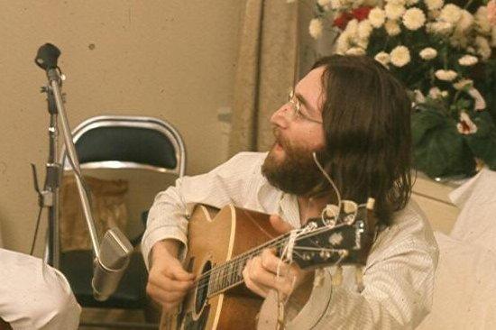 1968 photo of John Lennon by Roy Kerwood, courtesy of Wikimedia Commons