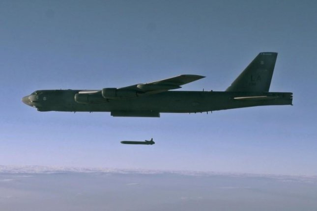 A B-52H Stratofortress over the Utah Test and Training Range releases an unarmed AGM-86B Air-Launched Cruise Missile, or ALCM, during a previous Nuclear Weapons System Evaluation Program sortie on Sept. 22, 2014. Recent sorties underscored the cruise-missile capability of the B-52H and the ALCM's sustainability. U.S. Air Force file photo/Staff Sgt. Roidan Carlson