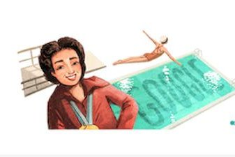 Vicki Draves won the gold medal in the women's 3-meter springboard event at the London Summer Olympics on Aug. 3, 1948. Image courtesy of Google