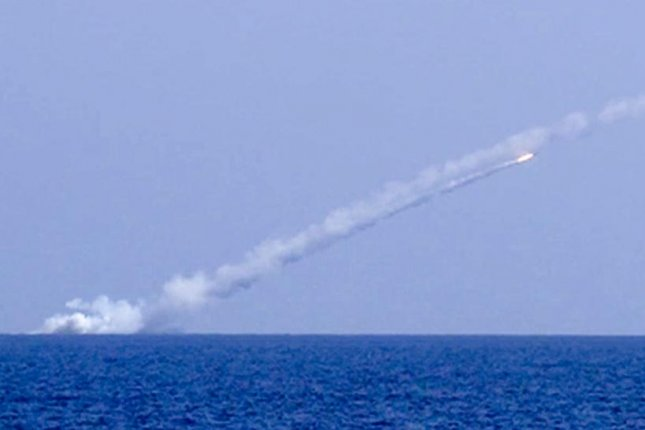A Russian Kalibr cruise missile is fired from the Mediterranean Sea Thursday at Islamic State militants in east Syria. Image courtesy Russian Ministry of Defence