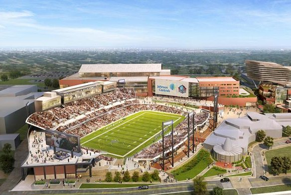 The Johnson Controls Hall of Fame Village is set to be completed by 2020 in Canton, Ohio at the site of the Pro Football Hall of Fame. Photo courtesy of the Pro Football Hall of Fame.