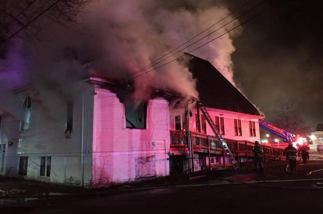 An early morning blaze at Martin Luther King Jr. Presbyterian Church in Springfield, Mass., is being investigated as possible arson and a hate crime, the fire commissioner said Monday. Photo courtesy of the Springfield Fire Department/ Twitter